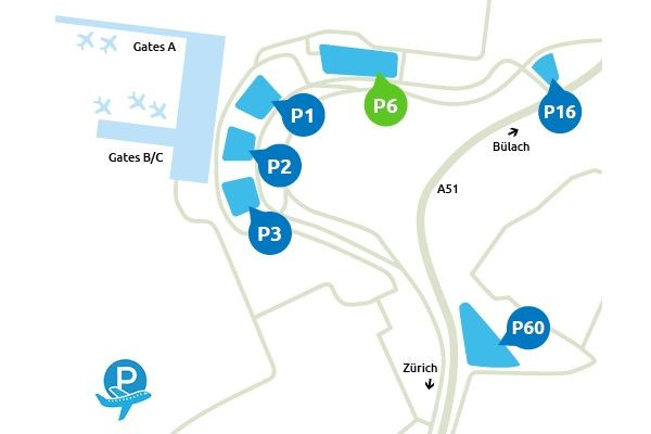 Plan Parking P6 Aeroport Zurich