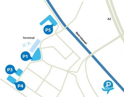 Plattegrond Eindhoven airport (zonder P8)